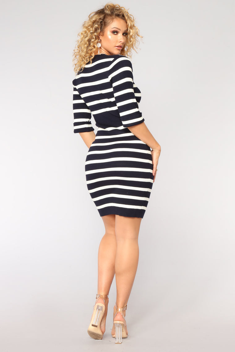 Yes Teacher Ribbed Dress - Navy