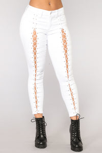 Girl Yes Lace Up Skinny Jeans - White