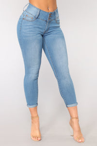 Hop In The Convertible Ankle Jeans - Medium Blue