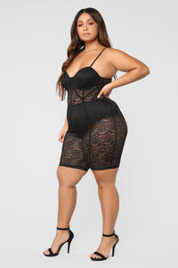 The Sky Is The Limit Lace Romper - Black Angle 8