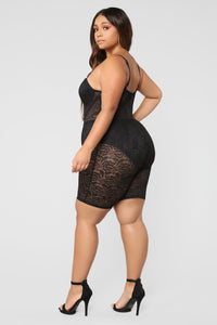 The Sky Is The Limit Lace Romper - Black Angle 9
