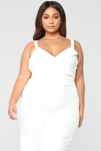 Thinking Of You Jumpsuit - White Angle 6