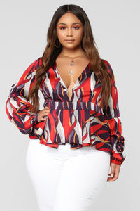 Blurred Lines Top - Purple/Red
