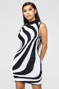 Wild Imagination Zebra Dress - Black/White Angle 1