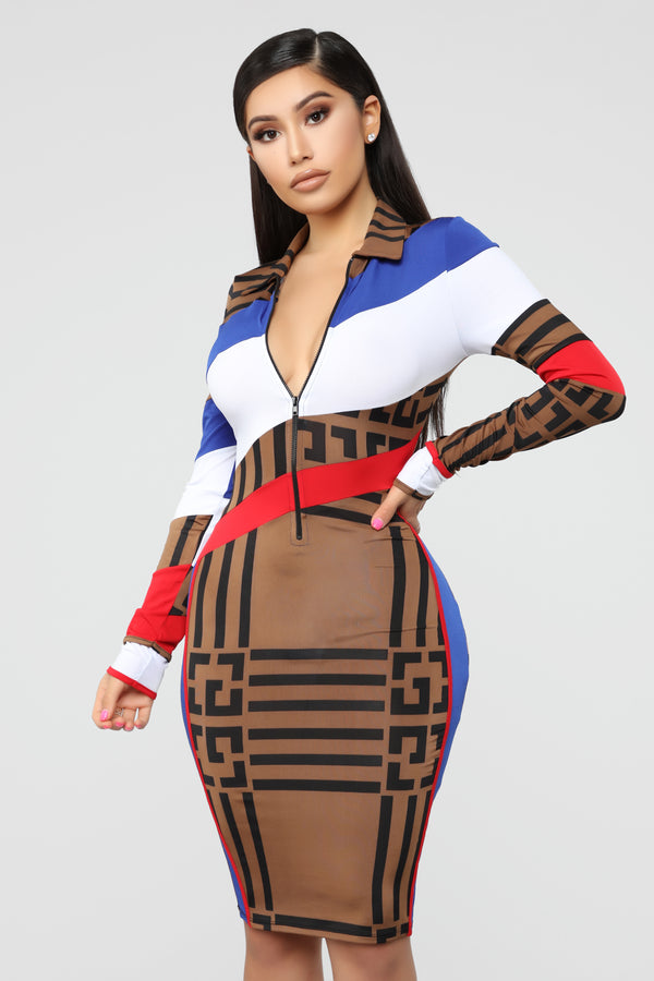 7bbfdd2e25e Race The Clock Midi Dress - Brown Print