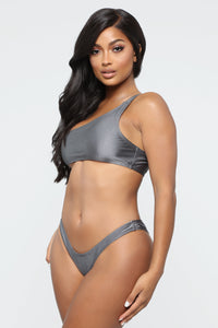 One Side Of It Bikini - Charcoal