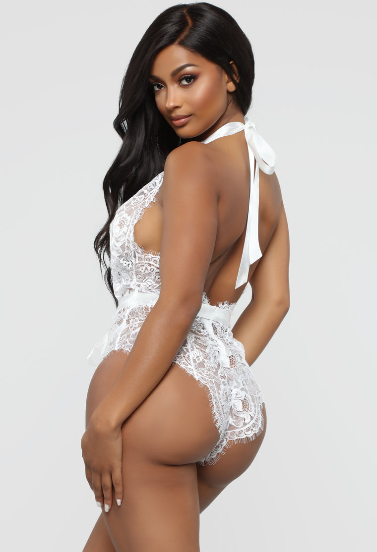 Want To Feel The Lace Teddy - White