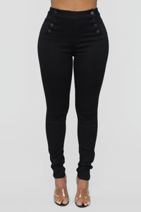 Keep It Button Up Skinny Jeans - Black