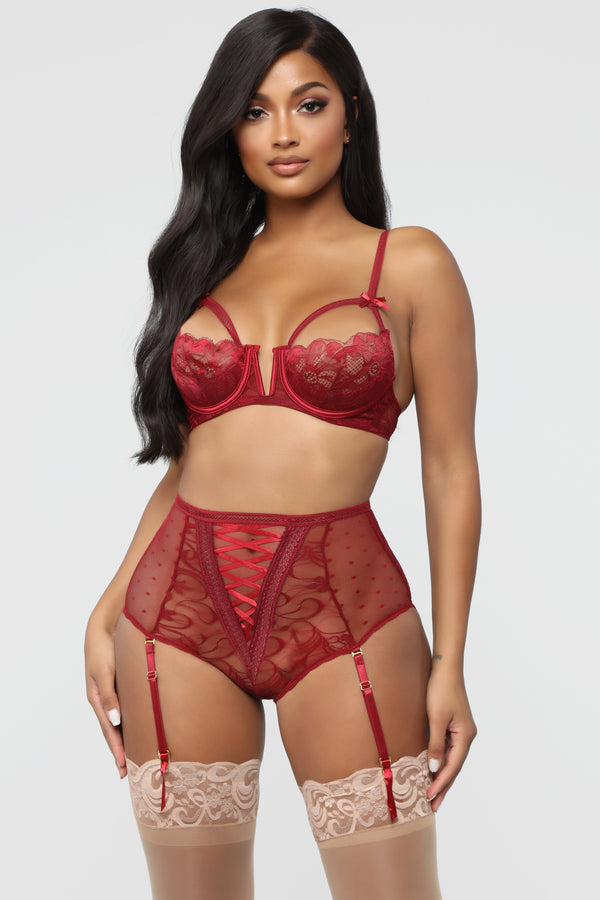 e3eb62771f8b Yours For The Night Lace 2 Piece Set - Wine
