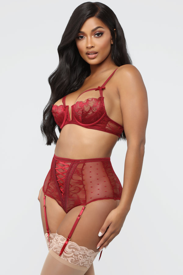 de1677f65 Yours For The Night Lace 2 Piece Set - Wine