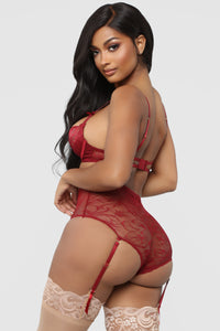 Yours For The Night Lace 2 Piece Set - Wine