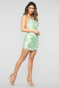 Take It Or Leaf It Embroidered Mini Dress - Green