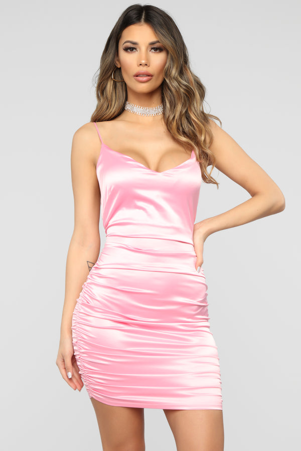 Silk Dream Satin Dress - Peach f1c4fe9f094b