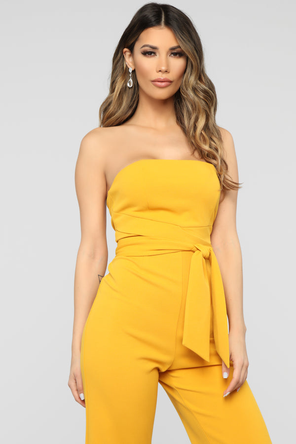 8e6e766d69c Standing Front Row Tube Jumpsuit - Mustard