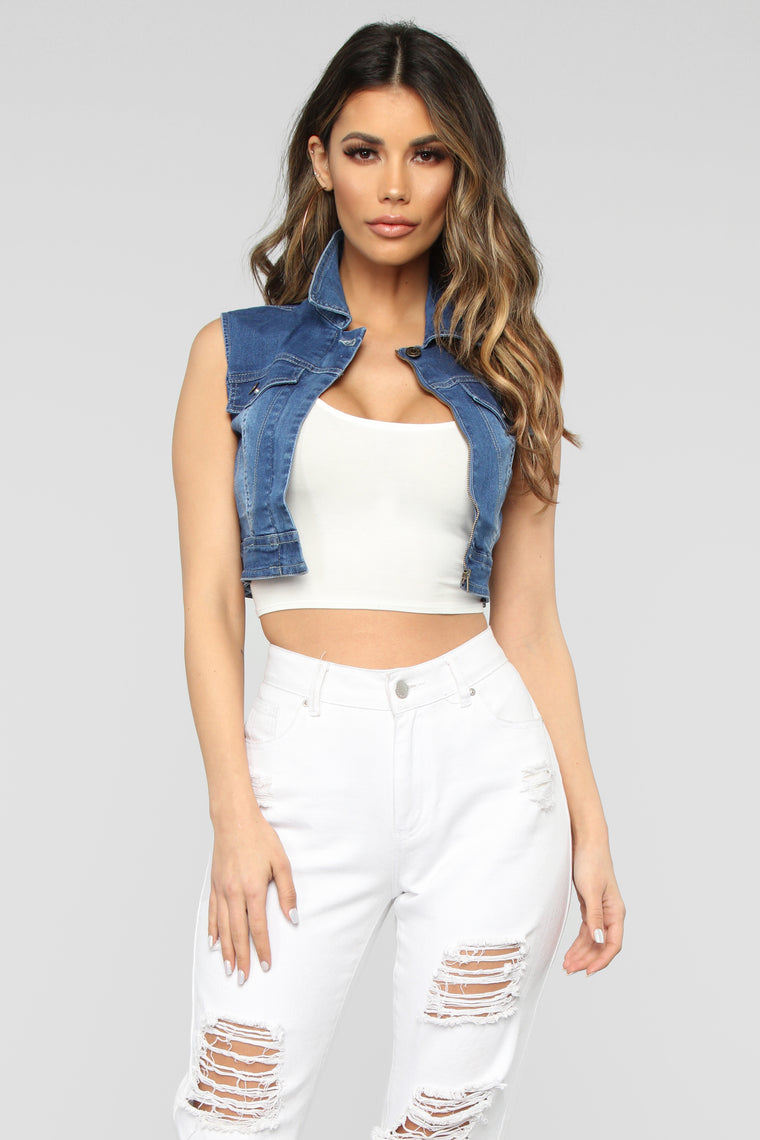 Pit Stop Denim Top - Medium Wash