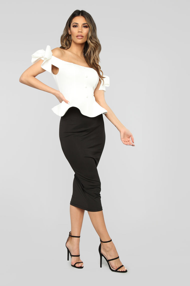 Rock With You Peplum Top - White