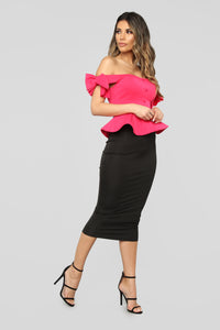 Rock With You Peplum Top - Pink