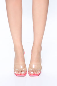 Always About Me Wedges - Neon Pink Angle 2