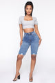 Monique Denim Bermuda Shorts - Medium Wash