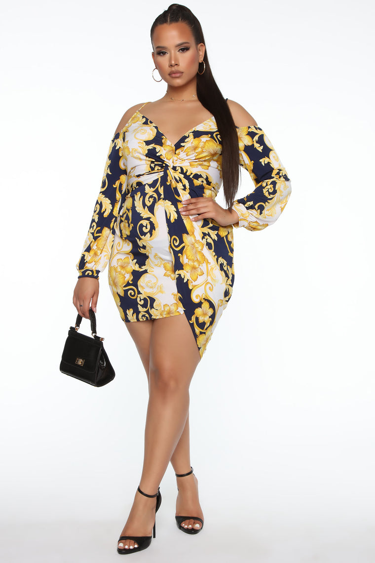 Desired By Me Printed Mini Dress - Navy