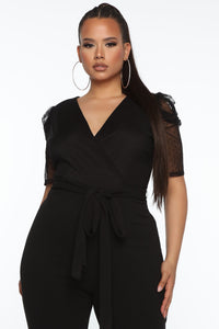 So Classy Sheer Puff Sleeve Jumpsuit - Black Angle 3