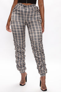 Plaid You For Fool Joggers - Taupe Angle 1