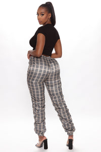 Plaid You For Fool Joggers - Taupe Angle 3