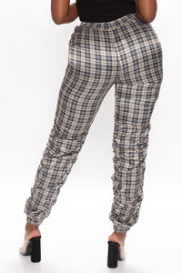Plaid You For Fool Joggers - Taupe Angle 4
