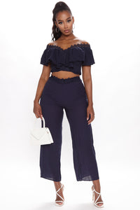Come My Way Pant Set - Navy Angle 1