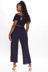 Come My Way Pant Set - Navy Angle 4