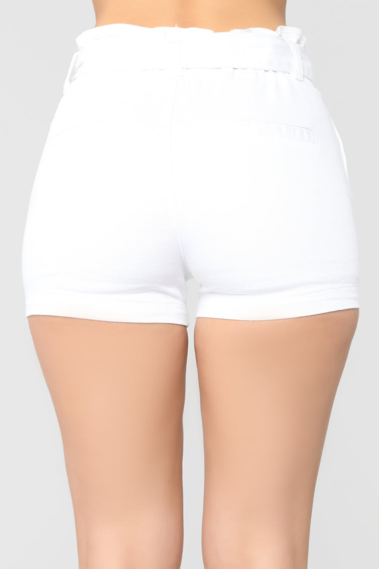 I Know You Love Me High Rise Shorts - White