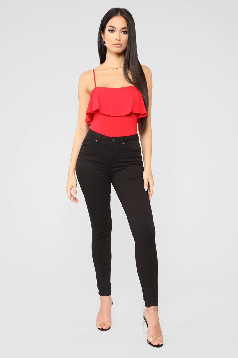 Cindy Ruffle Top - Red
