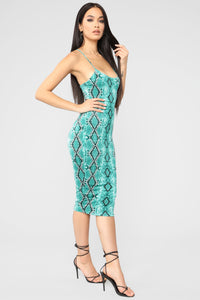 In My Nature Snake Midi Dress - Green/Combo