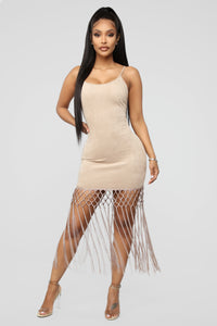 Hooked On You Fringe Mini Dress - Taupe Angle 1