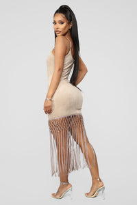Hooked On You Fringe Mini Dress - Taupe Angle 3
