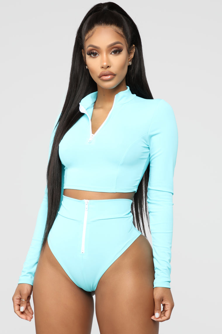 Water Sports III Long Sleeve Bikini - Blue