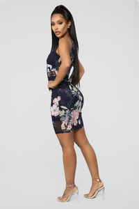 Smell The Flowers Floral Mesh Dress - Black/combo