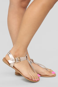 Always A Good Idea Flat Sandals - Rose Gold Angle 1
