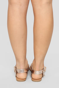 Always A Good Idea Flat Sandals - Rose Gold Angle 4