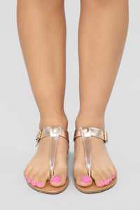 Always A Good Idea Flat Sandals - Rose Gold Angle 2