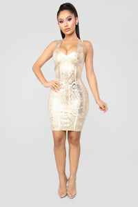 Slither To Me Dress - Gold Angle 2