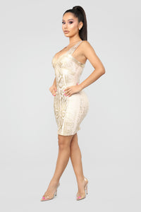 Slither To Me Dress - Gold Angle 3