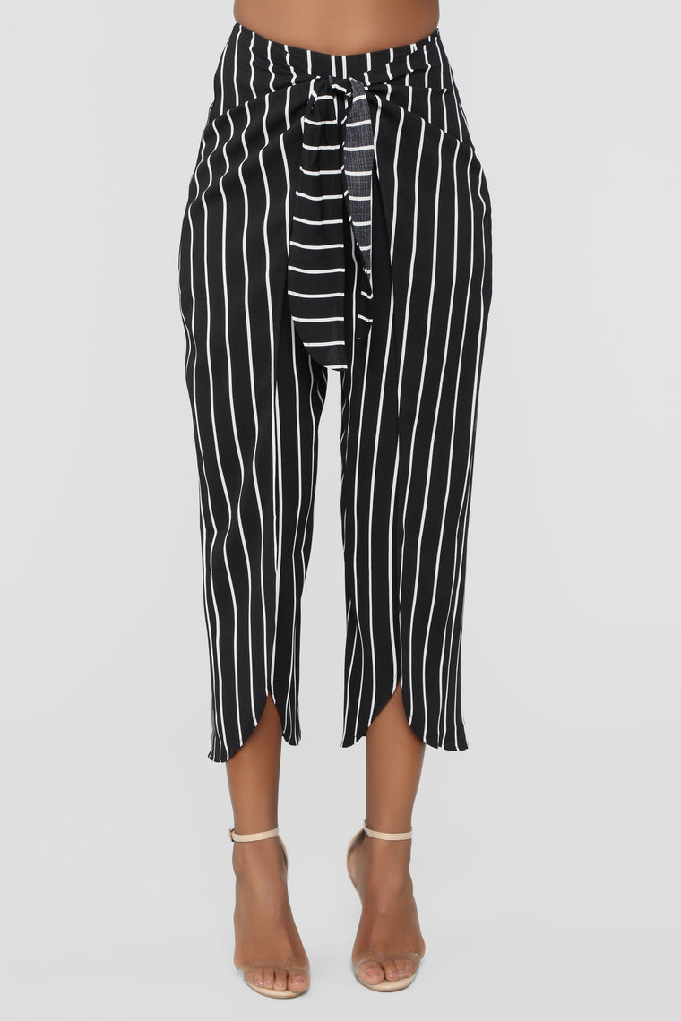 Stripes And Things Tie Waist Pants   Black/White by Fashion Nova