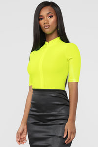 New Emotions Bodysuit - Neon Yellow Angle 5