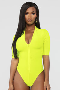 New Emotions Bodysuit - Neon Yellow Angle 1