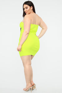 Mislead You Tube Dress - Neon Yellow