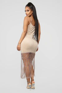 Hooked On You Fringe Mini Dress - Taupe Angle 4