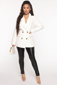 I Mean Business Double Breasted Blazer - White Angle 3
