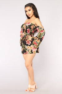 Secret Oasis Tropical Romper - Black Multi Angle 3