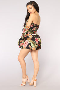Secret Oasis Tropical Romper - Black Multi Angle 4